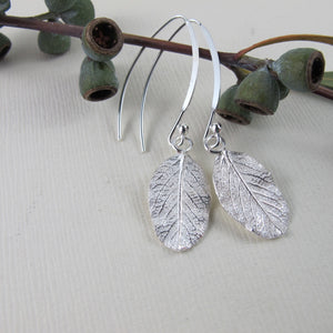 Wild rose leaf imprinted dangle earrings from Victoria - Swallow Jewellery