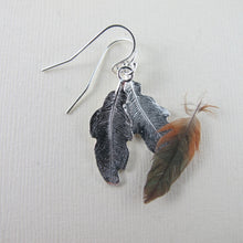 Load image into Gallery viewer, Hummingbird feather imprinted dangle earrings from Gabriola Island, BC by Swallow Jewellery