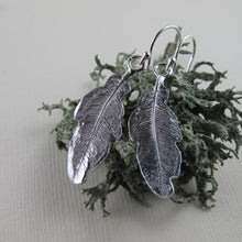 Load image into Gallery viewer, Hummingbird feather imprinted dangle earrings from Gabriola Island, BC