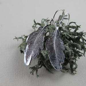 Hummingbird feather imprinted dangle earrings from Gabriola Island, BC by Swallow Jewellery
