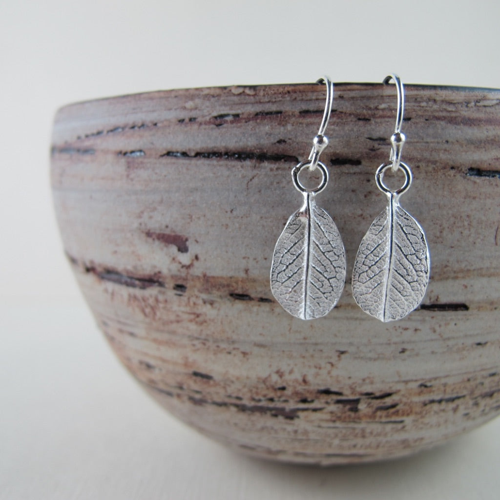Mini wild rose leaf imprinted dangle earrings from Victoria - Swallow Jewellery