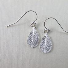 Load image into Gallery viewer, Mini wild rose leaf imprinted dangle earrings from Victoria - Swallow Jewellery