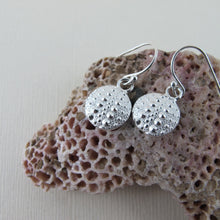 Load image into Gallery viewer, Sea urchin imprinted dangle earrings from Middle Beach, Tofino - Swallow Jewellery
