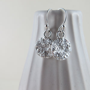 Barnacle imprinted dangle earrings from Kin Beach, Vancouver Island - Swallow Jewellery