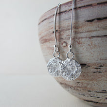 Load image into Gallery viewer, Barnacle imprinted dangle earrings from Kin Beach, Vancouver Island - Swallow Jewellery