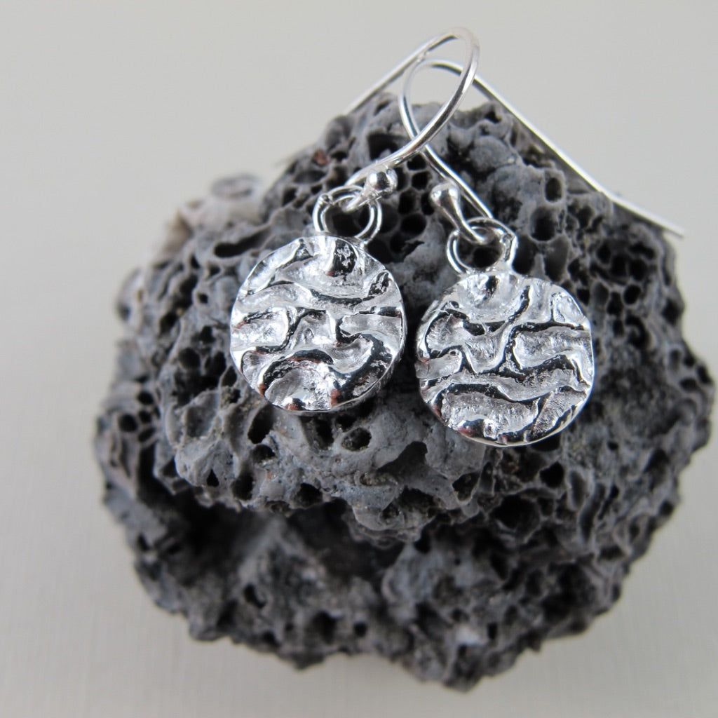 Seaweed imprinted dangle earrings from Dallas Road, Victoria - Swallow Jewellery