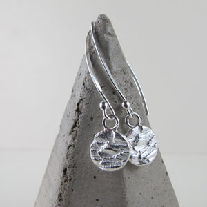 Douglas Fir tree bark imprinted dangle earrings from Victoria, BC - Swallow Jewellery
