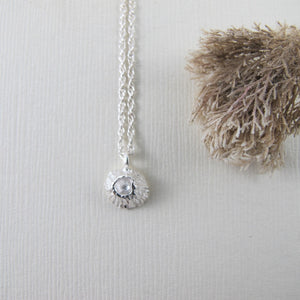 Single barnacle imprinted necklace from Middle Beach, Tofino by Swallow Jewellery