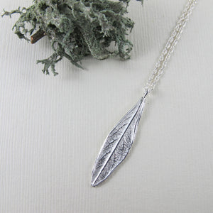 Willow leaf imprinted short necklace from Galiano Island, BC - Swallow Jewellery