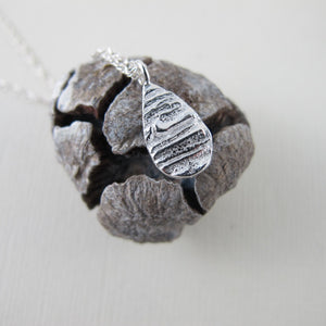 Arbutus bark imprinted necklace from Galiano Island, BC - Swallow Jewellery