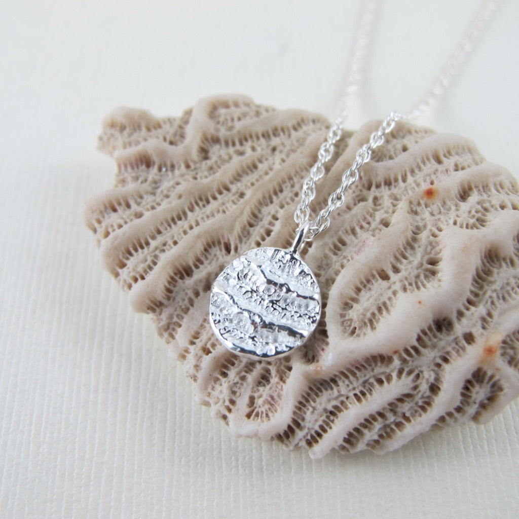 Port Renfrew coral imprinted necklace from Vancouver Island - Swallow Jewellery