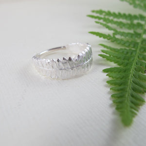 Young fern imprinted ring from Sandcut Beach, BC by Swallow Jewellery