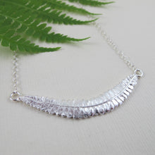 Load image into Gallery viewer, Young fern imprinted bar necklace from Sandcut Beach on Vancouver Island, BC