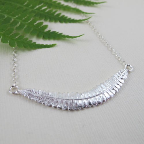 Young fern imprinted bar necklace from Sandcut Beach on Vancouver Island, BC by Swallow Jewellery
