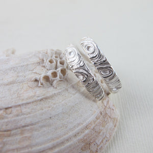 Driftwood imprinted wrap ring from Mystic Beach, Vancouver Island from Swallow Jewellery