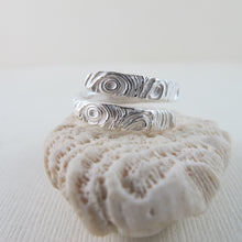 Load image into Gallery viewer, Driftwood imprinted wrap ring from Mystic Beach, Vancouver Island from Swallow Jewellery