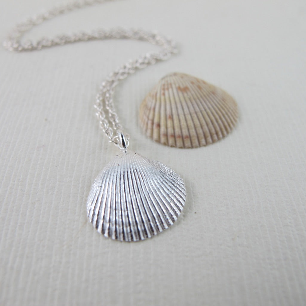 Clam shell imprinted necklace from Saratoga Beach, Vancouver Island - Swallow Jewellery