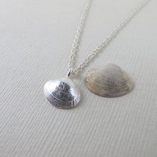 Load image into Gallery viewer, Small clam shell imprinted necklace from Saratoga Beach, Vancouver Island - Swallow Jewellery