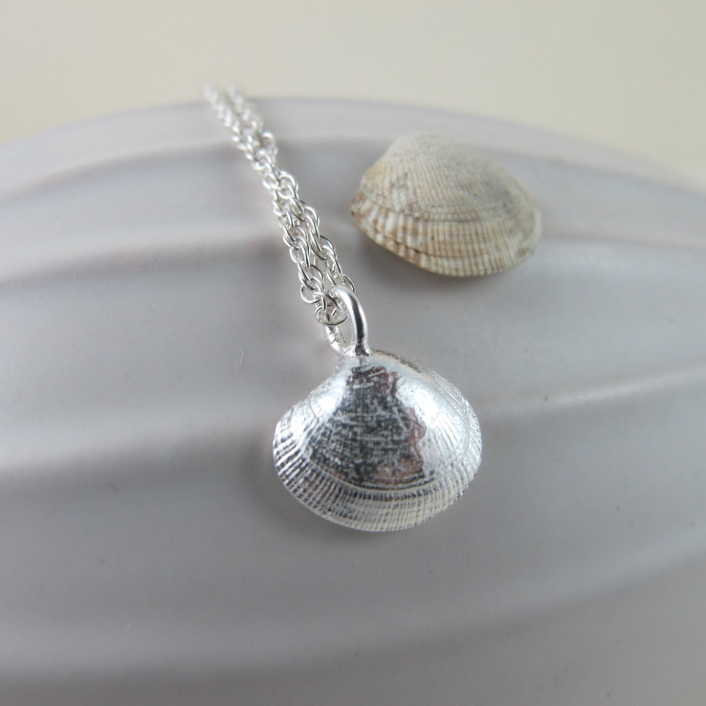 Small clam shell imprinted necklace from Saratoga Beach, Vancouver Island - Swallow Jewellery