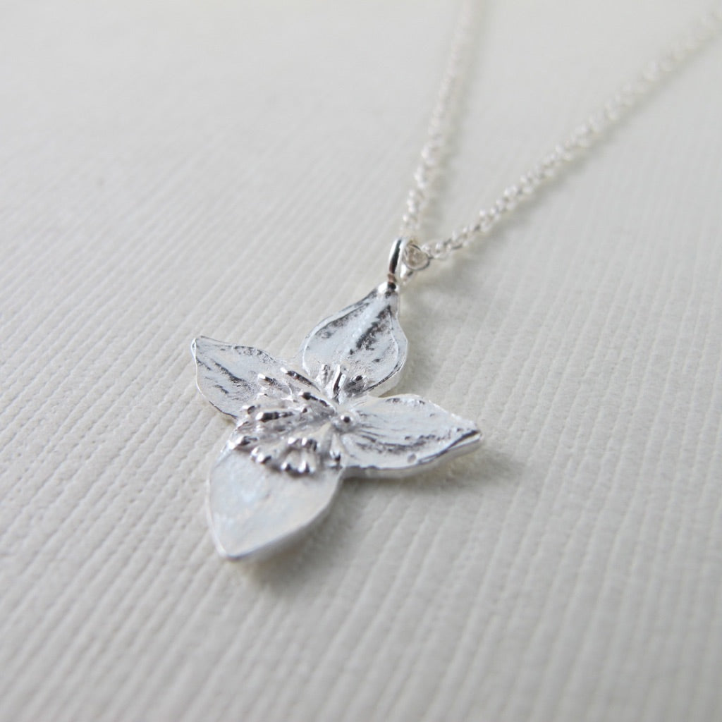 Dwarf dogwood imprinted necklace from Strathcona Park, Vancouver Island by Swallow Jewellery