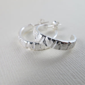 Arbutus tree bark imprinted hoop earrings from Galiano Island, BC by Swallow Jewellery