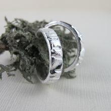 Load image into Gallery viewer, Arbutus tree bark imprinted hoop earrings from Galiano Island, BC by Swallow Jewellery