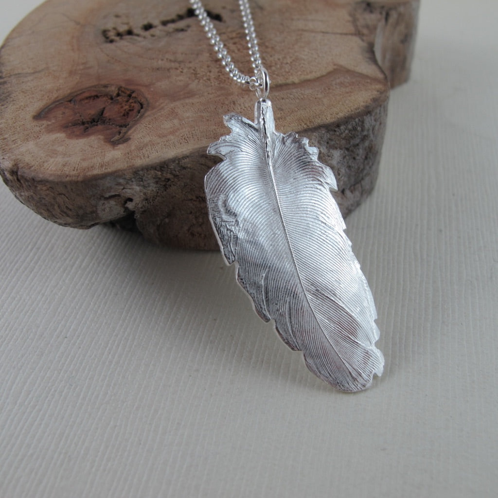 Stellar's Jay feather imprinted necklace from Victoria, BC by Swallow Jewellery