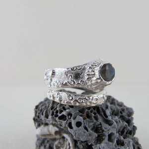 Barnacle wrap ring with labradorite from Kin Beach and Tofino, Vancouver Island from Swallow Jewellery
