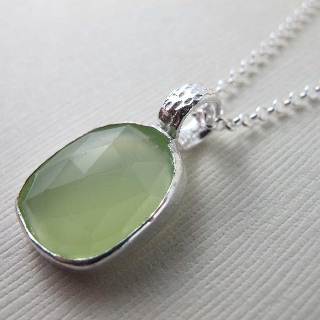Chalcedony and coral imprinted bail necklace from Tofino, Vancouver Island - Swallow Jewellery