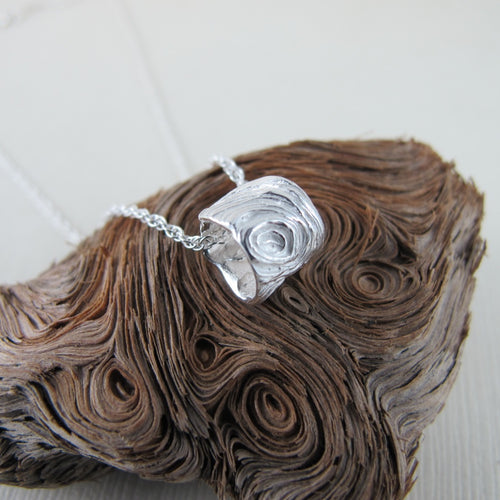 Driftwood imprinted infinity bead necklace from Mystic Beach, Vancouver Island - Swallow Jewellery