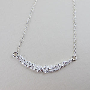 Salt Cedar flower imprinted bar necklace from Victoria, BC - Swallow Jewellery