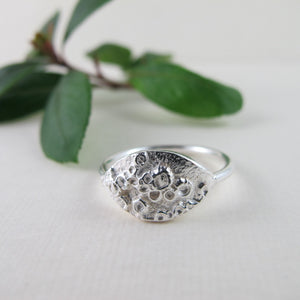 Barnacle imprinted ring from Kin Beach, Vancouver Island - Swallow Jewellery