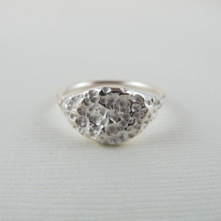Whale bone imprinted ring from Victoria, BC - Swallow Jewellery