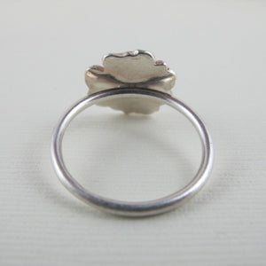 Daisy flower imprinted ring from Victoria, BC - Swallow Jewellery
