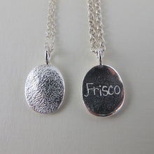 Load image into Gallery viewer, Single charm paw print necklace with your pet's paw texture