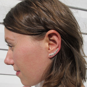Salt Cedar flower imprinted ear climbers from Victoria, BC - Swallow Jewellery