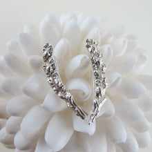 Load image into Gallery viewer, Salt Cedar flower imprinted ear climbers from Victoria, BC - Swallow Jewellery