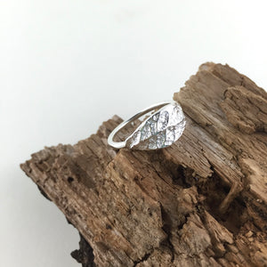 Plum leaf imprinted ring from Victoria, BC - Swallow Jewellery