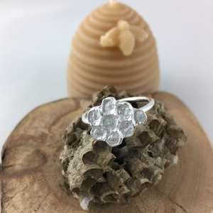 Honeycomb imprinted ring from Qualicum Falls, Vancouver Island - Swallow Jewellery