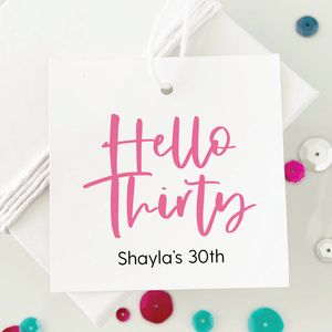 Hello Thirty 30th Birthday Favor Tags