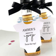 Load image into Gallery viewer, onesie mini bottle tags for baby shower alcohol favors