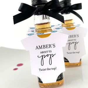 onesie mini bottle tags for baby shower alcohol favors