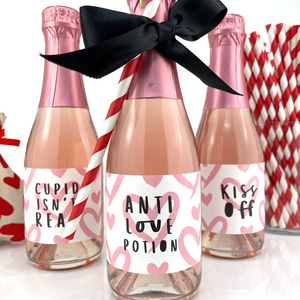 Anti Love Potion Valentines Day Mini Champagne Labels