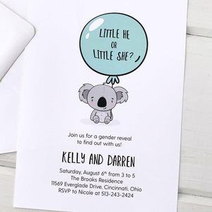 Baby Koala Gender Reveal Invitation