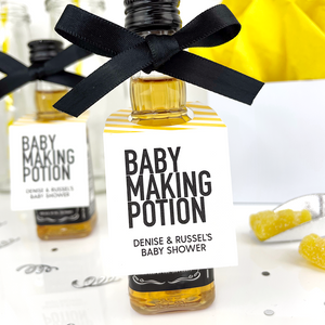 baby making potion baby shower favor tags on mini bottle of liquor