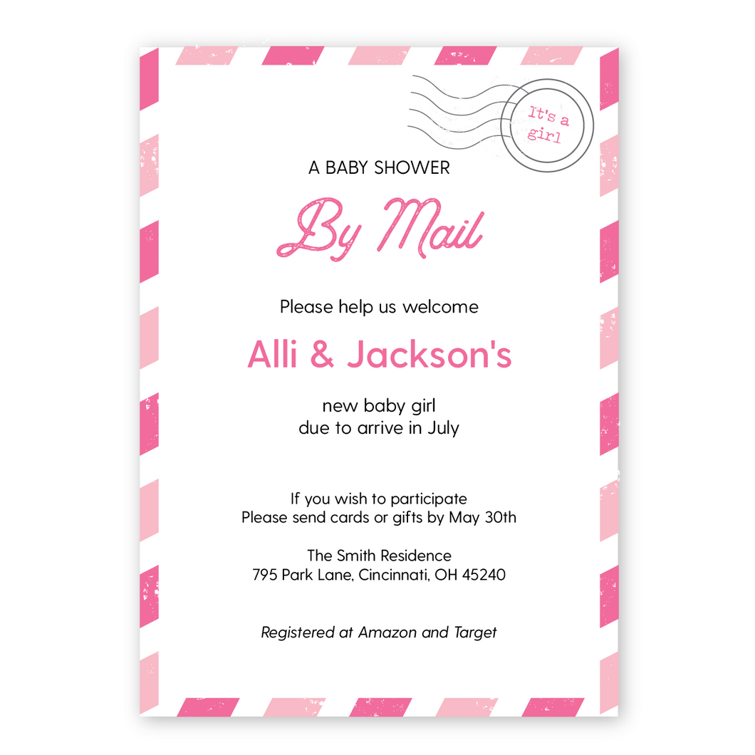 Baby Shower By Mail Long Distance Baby Shower Invitation
