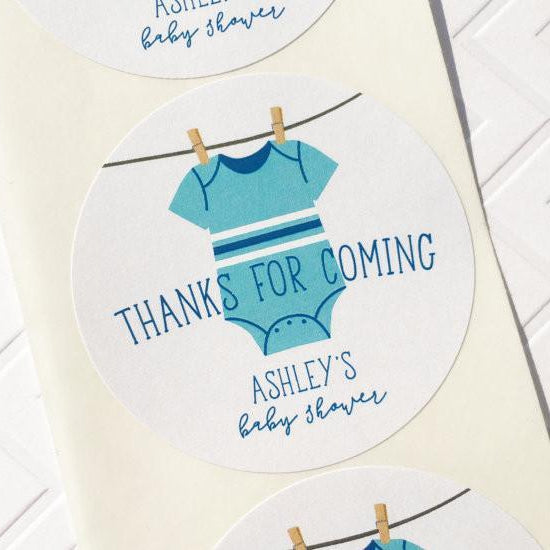 Clothesline Baby Shower Thank You Labels for Boy