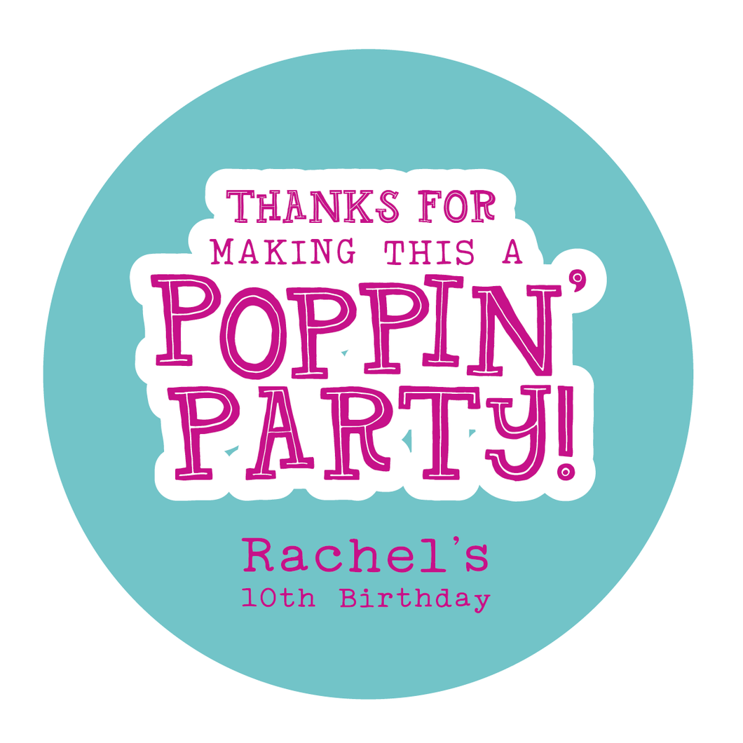 Birthday Party Thank You Favor Labels for Popcorn Favors