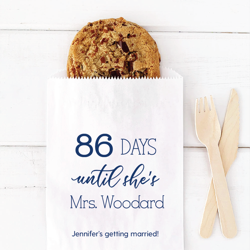 Countdown to Wedding Bridal Shower Favor Bag