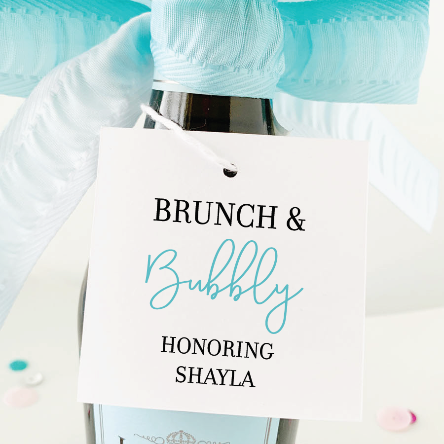 brunch and bubble square champagne favor tags